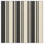 [ Thumbnail: Tan & Black Colored Lines Fabric ]