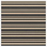 [ Thumbnail: Tan & Black Colored Lines/Stripes Pattern Fabric ]