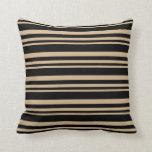 [ Thumbnail: Tan & Black Colored Lines/Stripes Pattern Pillow ]