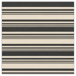 [ Thumbnail: Tan & Black Colored Striped/Lined Pattern Fabric ]