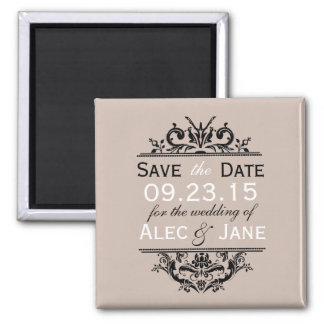Tan & Black Crest Save the Date Magnet