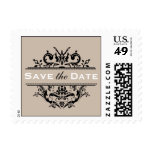 Tan & Black Crest Save the Date Postcard Postage