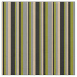 [ Thumbnail: Tan, Black, Green & Grey Colored Pattern Fabric ]