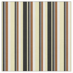 [ Thumbnail: Tan, Black, Grey, Brown & White Striped Pattern Fabric ]