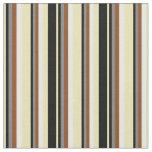 [ Thumbnail: Tan, Black, Grey, Brown & White Striped Pattern Fabric ]