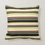 [ Thumbnail: Tan, Black, Grey, Brown & White Striped Pattern Throw Pillow ]