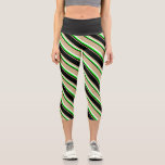 [ Thumbnail: Tan, Black, Lime & Mint Cream Colored Stripes Leggings ]