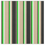 [ Thumbnail: Tan, Black, Lime & Mint Cream Colored Stripes Fabric ]
