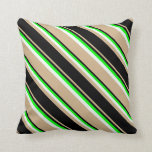 [ Thumbnail: Tan, Black, Lime & Mint Cream Colored Stripes Throw Pillow ]