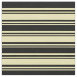 [ Thumbnail: Tan & Black Lines Pattern Fabric ]