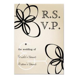 Tan & Black Modern Wedding RSVP With Flowers Card