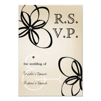 Tan & Black Modern Wedding RSVP With Flowers Personalized Invite
