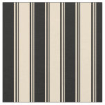 [ Thumbnail: Tan & Black Striped/Lined Pattern Fabric ]