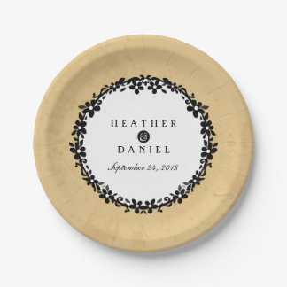 Tan Black & White Floral Scroll Wedding 7 Inch Paper Plate
