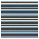 [ Thumbnail: Tan, Blue, and Black Lines Pattern Fabric ]