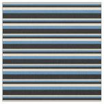 [ Thumbnail: Tan, Blue, and Black Lines Pattern Fabric ]