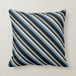 [ Thumbnail: Tan, Blue, and Black Lines Pattern Throw Pillow ]