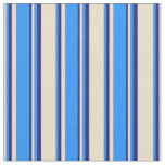 [ Thumbnail: Tan, Blue, and Midnight Blue Colored Stripes Fabric ]