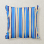 [ Thumbnail: Tan, Blue, and Midnight Blue Colored Stripes Throw Pillow ]
