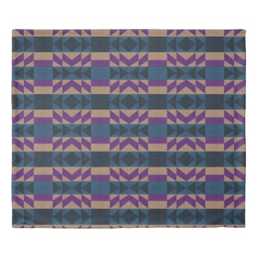 Aztec Themed Tan, Blue, and Violet Purple Aztec Duvet Cover