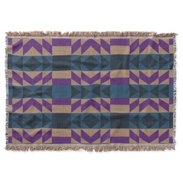 Aztec Themed Tan, Blue, and Violet Purple Aztec Throw Blanket