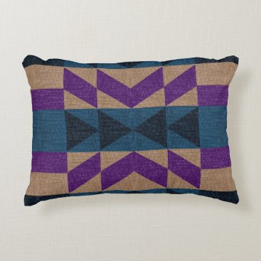 Aztec Themed Tan, Blue, and Violet Purple Aztec Throw Pillow