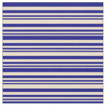 [ Thumbnail: Tan & Blue Colored Lined/Striped Pattern Fabric ]