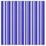 [ Thumbnail: Tan & Blue Colored Lines Fabric ]