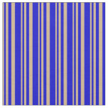 [ Thumbnail: Tan & Blue Colored Lines/Stripes Pattern Fabric ]