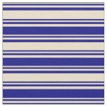 [ Thumbnail: Tan & Blue Colored Striped/Lined Pattern Fabric ]
