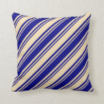 [ Thumbnail: Tan & Blue Colored Striped/Lined Pattern Pillow ]