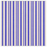 [ Thumbnail: Tan & Blue Colored Striped Pattern Fabric ]