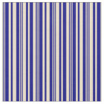 [ Thumbnail: Tan & Blue Colored Stripes/Lines Pattern Fabric ]