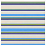 [ Thumbnail: Tan, Blue, Green, Midnight Blue, and White Colored Fabric ]