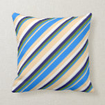 [ Thumbnail: Tan, Blue, Green, Midnight Blue, and White Colored Throw Pillow ]