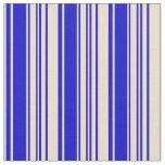 [ Thumbnail: Tan & Blue Lines/Stripes Pattern Fabric ]