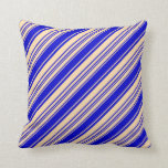 [ Thumbnail: Tan & Blue Lines/Stripes Pattern Throw Pillow ]