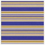 [ Thumbnail: Tan, Blue, Mint Cream, and Dark Goldenrod Pattern Fabric ]