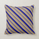 [ Thumbnail: Tan, Blue, Mint Cream, and Dark Goldenrod Pattern Throw Pillow ]