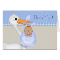 Tan Blue Stork Baby Boy Thank You Cards