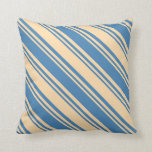 [ Thumbnail: Tan & Blue Striped/Lined Pattern Throw Pillow ]