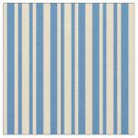[ Thumbnail: Tan & Blue Striped Pattern Fabric ]