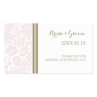 Tan Blush Pink Damask Wedding Favor Tags Double-Sided Standard Business Cards (Pack Of 100)