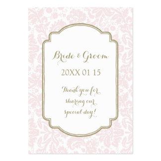 Tan Blush Pink Damask Wedding Favor Tags Large Business Cards (Pack Of 100)