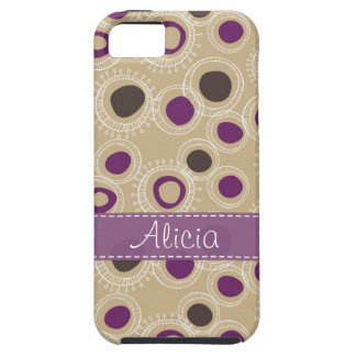 Tan, Brown and Purple Doodled Circles iPhone 5 Case