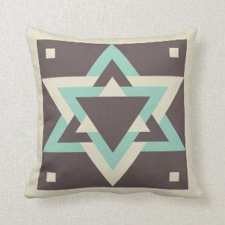 Tan, Brown and Teal Blue Hexagram Throw Pillow