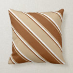 [ Thumbnail: Tan, Brown, and White Striped Pattern Throw Pillow ]