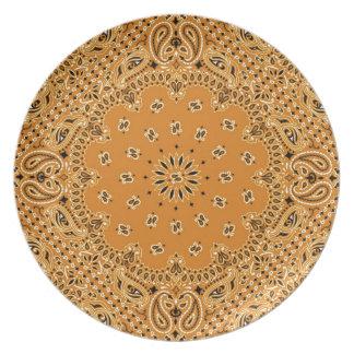 Tan Brown BBQ Paisley Western Bandana Scarf Plate