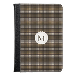 Tan/Brown/Beige Plaid Personalized Monogram Kindle Case
