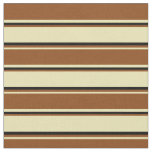 [ Thumbnail: Tan, Brown & Black Lined/Striped Pattern Fabric ]